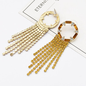 E-5157  New Fashion Silver Gold Geometric Shape Metal Crystal Long Tassel Earring for Women Bridal Wedding Party Jewelry