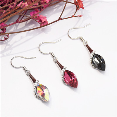 E-5162 Brand New 3 Colors Korean  Fashion Simple Elegant   Alloy Silver Crystal  Drop Earring for Women Bridal Wedding Party Jewelry