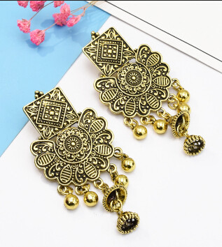 E-5161  Vintage Silver Gold Metal Carved Flower Bells Drop Earrings for Women Boho Party Festival Jewelry