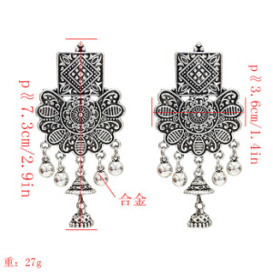 E-5161  Vintage Silver Gold Metal Carved Flower Bells Drop Earrings for Women Boho Party Festival Jewelry