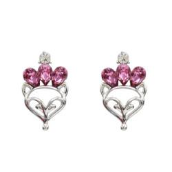 E-5163  3 Colors 925 Silver Fox Face Rhinestone Stud Earring For Women Jewelry Design