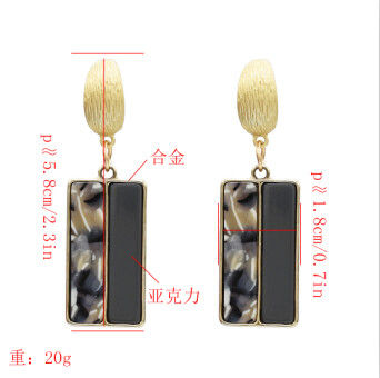 E-5164  4 Colors New Fashion Gold Geometric Shape Metal Rectangle Acrylic Drop Earring for Women Bridal Wedding Party Jewelry