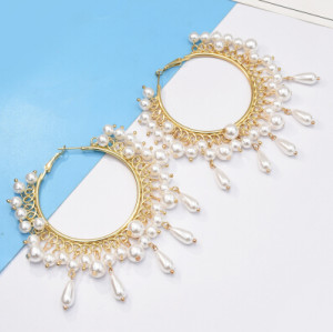 E-5168  Elegant Gold Metal Pearl Hoop Earrings for Women Bridal Wedding Party Jewelry