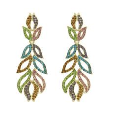 E-5169 Gold Alloy Fancy Diamond Leaf Lady Long Earrings