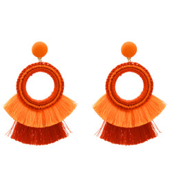 E-5171  5 Colors Ethnic Cotton Fringe Tassel Drop Earrings for Women Boho Wedding Party Jewelry