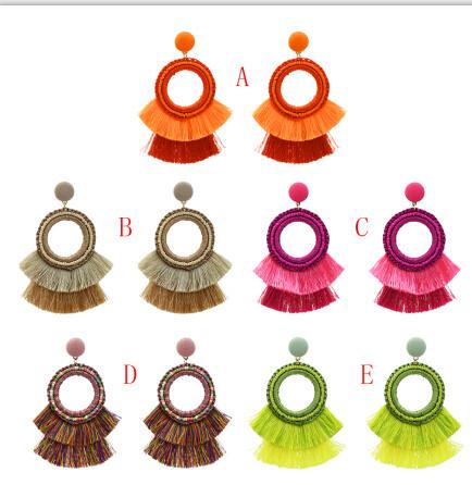 E-5171  5 Colors Ethnic Cotton Fringe Tassel Drop Earrings for Women Boho Wedding Party Jewelry