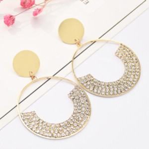 E-5176  Fashion Silver Gold Geometric Shape Metal Crystal Earring for Women Bridal Wedding Party Jewelry