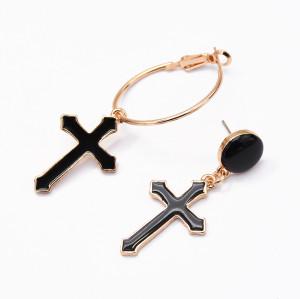E-5175  New Fshion Gold Plated Alloy black cross Earrings Jewelry