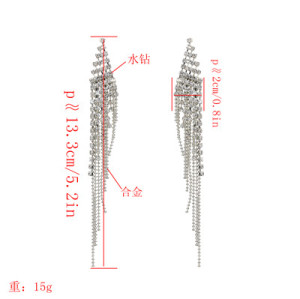 E-5177  2 Colors Geometric Shape Metal Crystal Long Tassel Earring For Women Bridal Wedding Party Jewelry