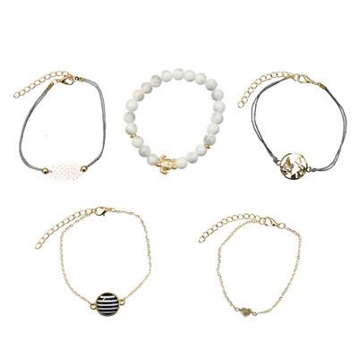B-0937  Fashion Korean Bracelets Cuff Multi layer  Wristband Beads Bracelet For Women jewelry.