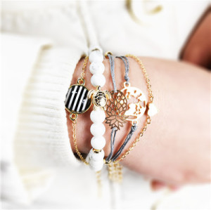 B-0937  Fashion Korean Bracelets Cuff Multi layer  Wristband Beads Bracelet For Women jewelry.