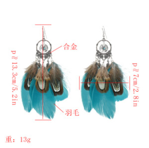 E-5179  3 Color Bohemian Vintage Silver Feather Pendant Drop Dangle Earrings Hook Earring