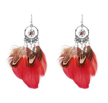 E-5179  3 Color Bohemian Vintage Silver Feather Pendant Drop Dangle Earrings Hook Earring
