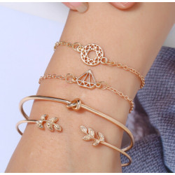 B-0938  2 Style 4pcs/set Gold  Simple pineapple Leaf Love Bangle Bracelet for women