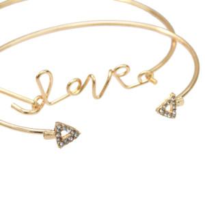 B-0938  2 Style 4pcs/set Gold  Simple pineapple Leaf Love Bangle Bracelet for women