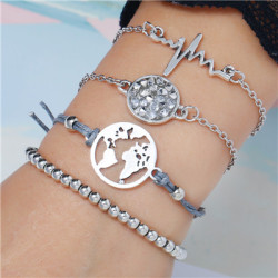 B-0939 2 Style 4Pcs/Set Silver Simple Pineapple Leaf Love Bangle Bracelet For Women