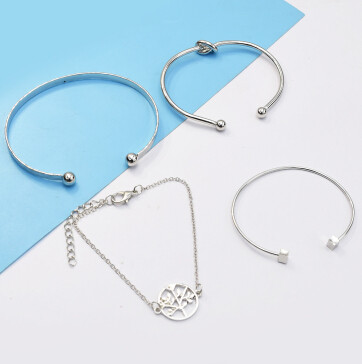 B-0942 4Pcs/Set Silver Simple Pineapple Tree Tassel Bangle Bracelet For Women
