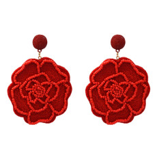 E-5183  6 Colors Handmade Resin Beads Rope Woven Flower Drop Earrings for Women Party Jewelry Gift