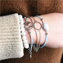 B-0943  Fashion 5 Pce/ Set Alloy Silver Thin Chain Beads Simple Bracelet Ladies Jewelry.