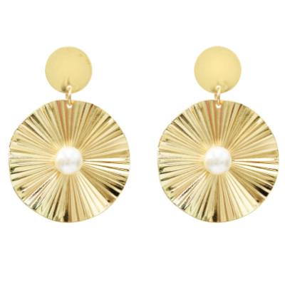 E-5186  Fashion Silver Gold Metal Pearl Drop Earrings for Women Boho Wedding Party Jewelry
