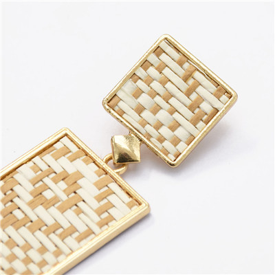 E-5185  Straw Rectangular Alloy Pendant Earrings