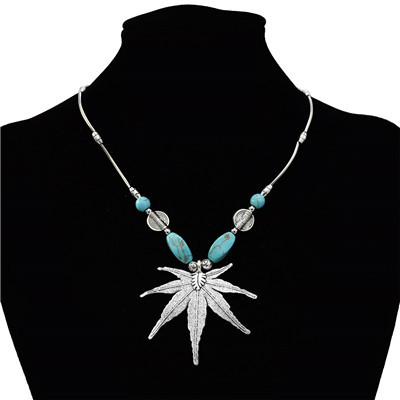 N-7190  Fashion  Bohemian Vintage Silver Turquoise Embellish  Fower Leaves  Necklace Earrings For Women Jewelry