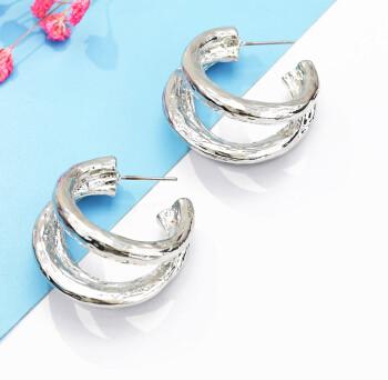 E-5187  Fashion Korean gold silver Circles Hoop Earrings for women Bijoux Jewelry