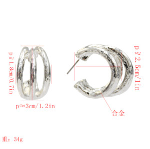 E-5187  Fashion Korean gold silver Circles Hoop Earrings for women Bijoux Jewelry