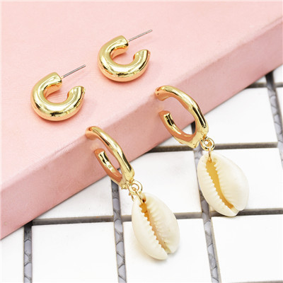 E-5188  2 Colors Circles Hoop Shell Earrings For Women Bijoux Jewelry