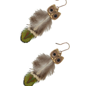 E-4114 Ethnic Owl Feather Drop Earrings for Women Boho Party Jewelry Gift