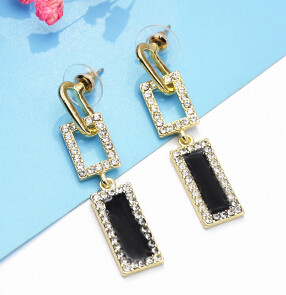 E-5189  New Fashion Gold Geometric Shape Metal Rectangle Rhinestone Drop Earring for Women Bridal Wedding Party Jewelry