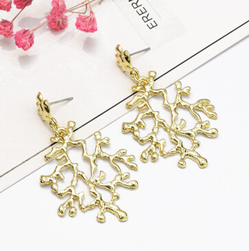 E-5193  Vintage Silver Gold Metal Leaf Shape Drop Earrings for Women Boho Wedding Party Jewelry Gift
