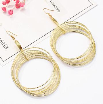 E-5195  Fashion Silver Gold Metal Circle Drop Earrings for Women Boho Wedding Party Jewelry