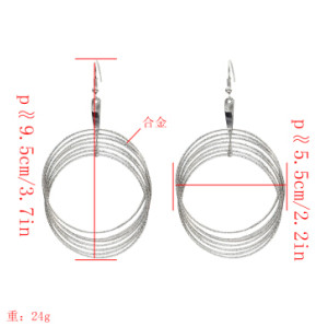 E-5195  Fashion Silver Gold Metal Circle Drop Earrings for Women Boho Wedding Party Jewelry