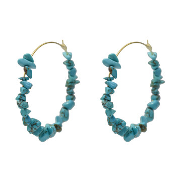 E-5196  Blue Red White Stone Hoop Earrings for Women Wedding Party Statement Jewelry Gift