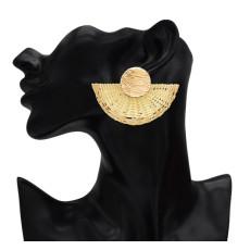 E-5200 Fashion Big Fan Shape Clip On Earring No Pierced for Women Party Jewelry