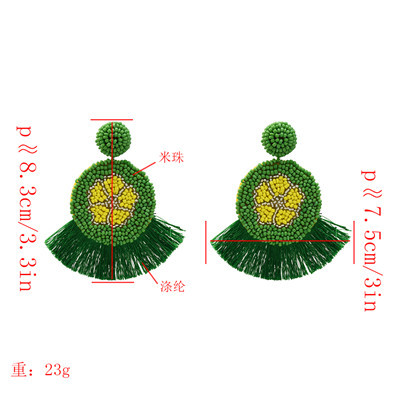 E-5201  4 Colors Bohemian Beads Round Large Earrings For Woman