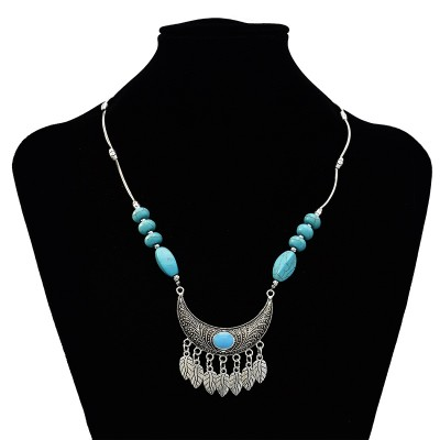 N-7196  Vintage Silver Turquoise Leaf Fower Pendant Necklace Bohemian For Women Jewelry