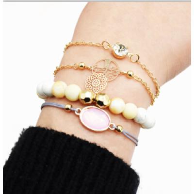 B-0945  2 Styles Bohemian Acrylic Beads Strand Bracelets Sets for Women Jewelry Party Gifts