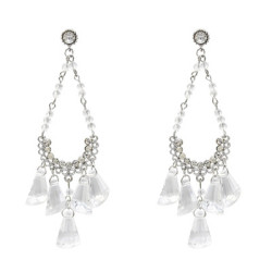 E-5199  Bohemian Tassel Silver Metal Geometric Rhinestone  Drop Dangle Earrings for Women  Jewelry