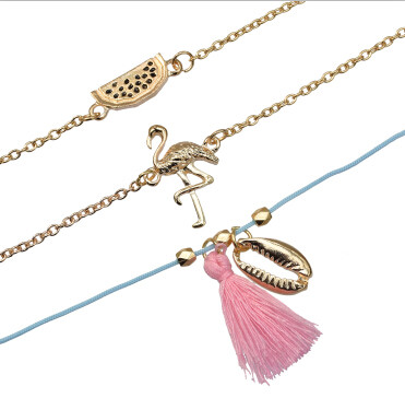 B-0946  Multilayers Shell Birds Heart Shape Fringe Tassl Bracelet & Bangle Sets for Women Boho Party Jewelry Gift