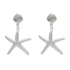E-5203  New Fashion Star shape Silver Gold Metal Carved  Drop Earrings for Women  Party Jewelry