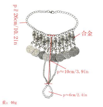 B-0950  Vintage Silver Metal Festival Coin Tassel Bracelets for Women Bohemian Gypsy Tribal Beach Jewelry