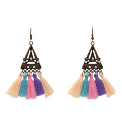 E-5210  5 Colors Ethnic Cotton Fringe Tassel Drop Earrings for Women Boho Party Jewelry Gift