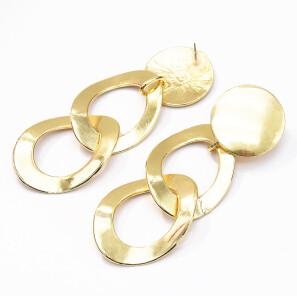 E-5209  Fashion Gold Silver Metal Geometric Round Shape Drop Earrings for Women Boho Wedding Party Jewelry