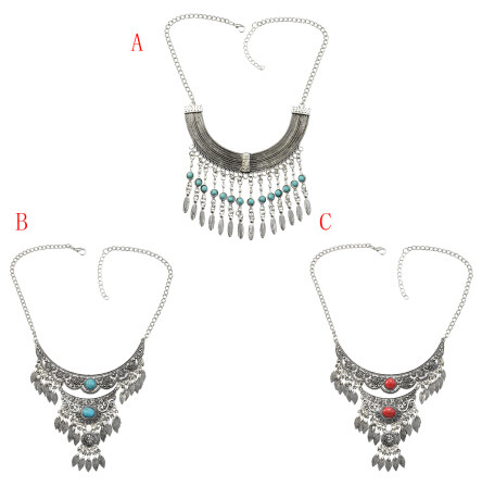 N-7197  Vintage Silver Metal Blue Red Stone Necklaces for Women Wedding Party Gypsy Jewelry Gift