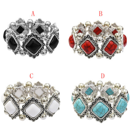 B-0952  4 Colors Vintage Silver Metal Turquoise Acrylic Beads Bracelets for Women Bohemian Party Jewelry