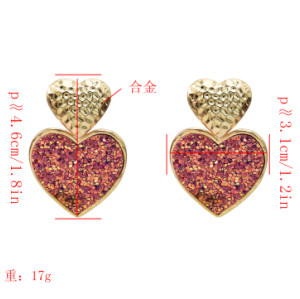 E-5213 Fashion 4 Color Heart Shaped Drop Dangle Earrings For Women Jewelry