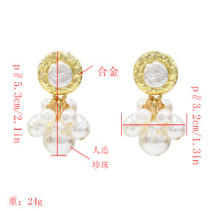 E-5218  Fashion Trendy Gold Statement Long Dangle Pearl Earrings Elegant Wedding Earrings