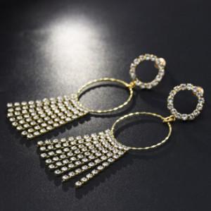 E-5219  Fashion Gold Metal Full Rhinestone Long Tassel Drop Earrings for Women Bridal Wedding Jewelry